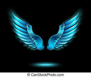 Alitas de ángel resplandecientes azules