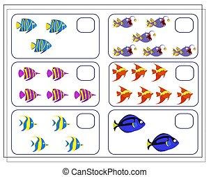 allí, matemáticas, conde, cómo, vector, juego, niños, pez, muchos, are.