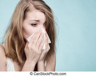 allergy., tissue., estornudar, gripe, salud, enfermo, niña