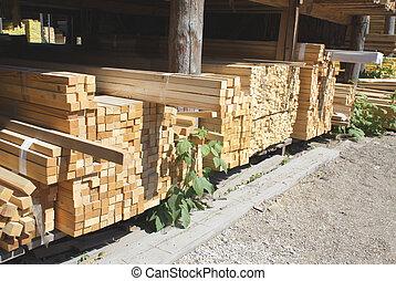 almacén, de madera, edificio, tablas, materiales