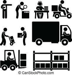 almacén, entrega, logístico, icono