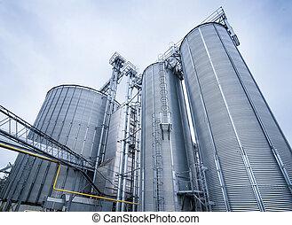 almacén, grano, trigo, silo, cereals., almacenamiento, close-up., silos, techo, bottom., vista