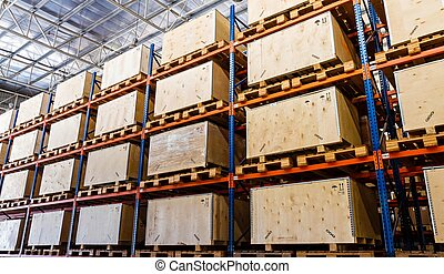 almacenamiento, estantes, almacén, fabricación