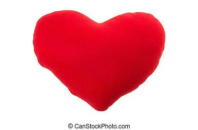 Almohada de corazón rojo aislada en fondo blanco