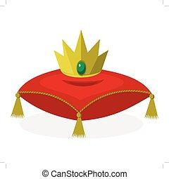 Almohada roja con corona dorada