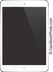 Almohadilla de tableta blanca, ipad - ilustración estilo Gadget, iconos, signo, vector.