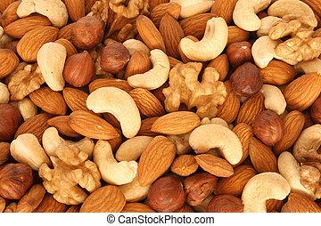 (almonds, variado, filberts, nueces, encima de cierre, nueces, cashews)
