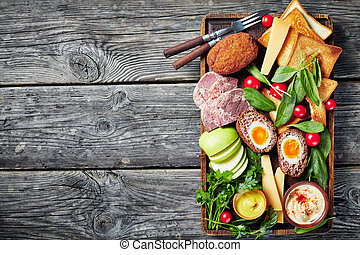almuerzo del labrador, bandeja, viejo, de madera