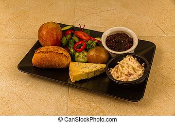 almuerzo, ploughmans, cheese., stilton
