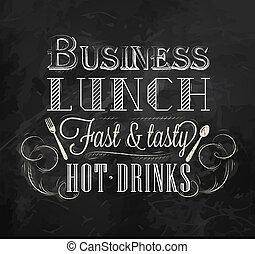 almuerzo, tiza, empresa / negocio