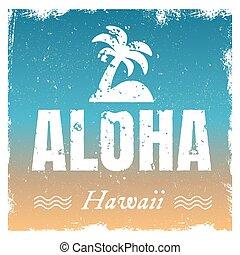 aloha, fondo., caliente, vector, retro, colores, playa