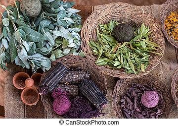 alpaca, hilo, maíz, teñido, mimbre, maíz, cestas