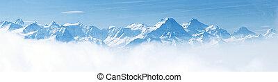 alpes, montaña, paisaje de nieve, panorama
