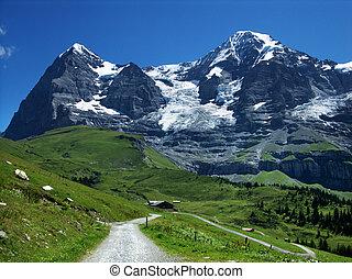 alpes, montañas, suiza, monch, eiger
