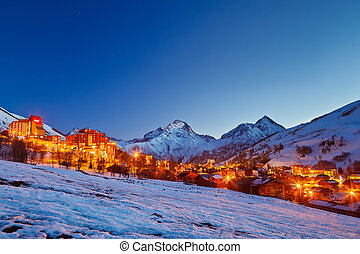alpes, recurso, esquí