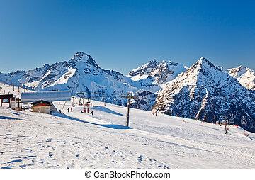 alpes, recurso, esquí, francés