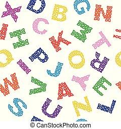 alphabet., seamless, plano de fondo