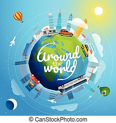 Alrededor del mundo gira por diferentes vehículos. Ilustración de vectores de viaje con logo