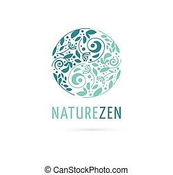 Alternativa, medicina china y bienestar, hierba, concepto de meditación zen - vector yin yang icono, logo