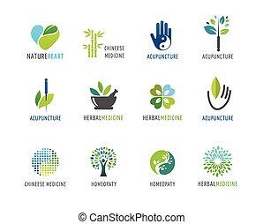 Alternativa, medicina china y bienestar, yoga, concepto de meditación zen, iconos vectoriales, logos