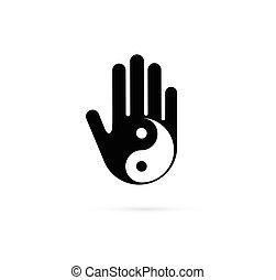 Alternativa, medicina china y bienestar, yoga, concepto de meditación zen - vector yin yang icono, logo