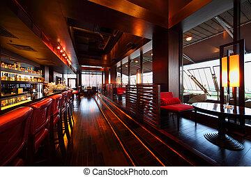 alto, asientos, vacío, sillas, mesas, fila, mostrador, barra roja, cómodo, restaurante