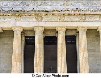 alto, cc, columnas, monumento de lincoln, abraham, estatua, washington