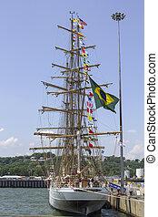 alto, cisne, barco, brasileño, branco