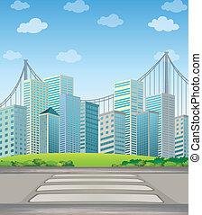 alto, ciudad de edificios