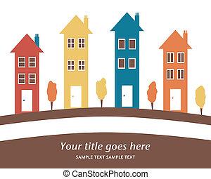 alto, colorido, houses., fila