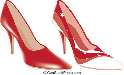 alto, diferente, colores, shoes, tacón