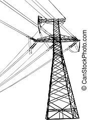 alto, línea, voltaje, eléctrico