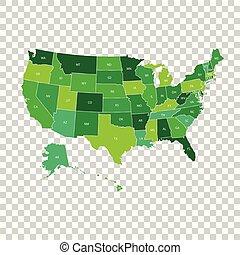 Alto mapa de EE.UU. con estados federales. Ilustración de vectores Estados Unidos de América en color verde.