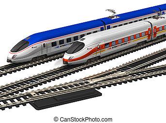 alto, miniatura, velocidad, trenes