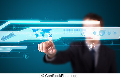 alto, moderno, botones, planchado, tecnología, hombre de negocios, tipo
