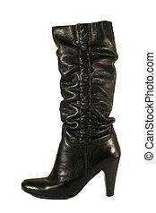 alto, mujer negra, bota, tacón