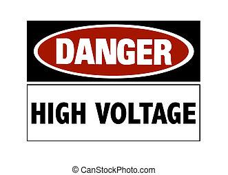 alto, peligro, -, voltaje, señal