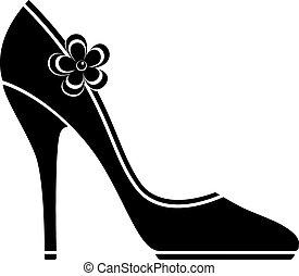 alto, shoes, tacón, (silhouette)
