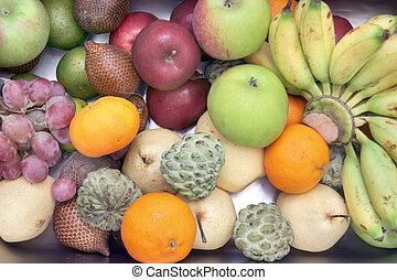 alto, tropical, ángulo, fruits