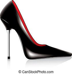 alto, zapato, tacón