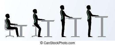 altura, ajustable, o, posturas, ergonomic., tabla, escritorio