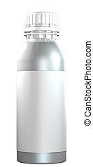 Aluminio o una botella de acero con un tapón de plástico