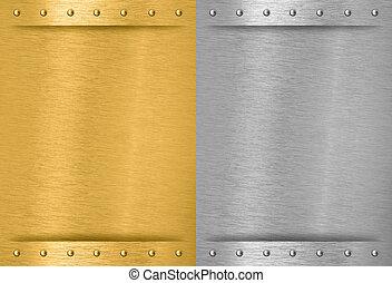 Aluminio y metal cosido con remaches