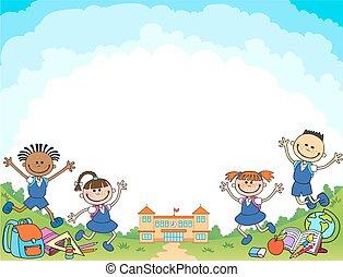 alumno, vector, bandera, niña, logotipo, espalda, niño, escuela, letras