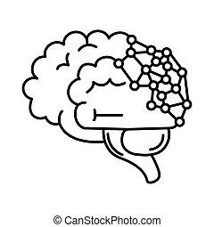 alzheimer, humano, capacidad, mental, línea, estilo, enfermo, icono, genética, decreased, cerebro