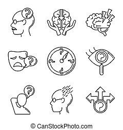 alzheimer, humano, línea, mental, estilo, disminución, iconos, conjunto, capacidad, enfermedad