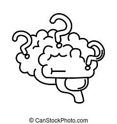 alzheimer, humano, línea, mental, marcas, estilo, médico, icono, salud, disminución, pregunta, capacidad, enfermedad del cerebro