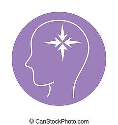 alzheimer, humano, macho, disminución, mental, estilo, icono, color, silueta, capacidad, perfil, bloque, enfermedad, intelectual