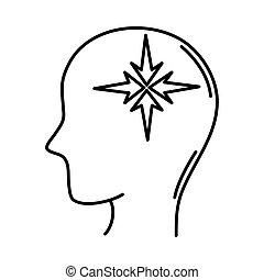 alzheimer, humano, macho, disminución, mental, línea, estilo, icono, silueta, capacidad, perfil, enfermedad, intelectual
