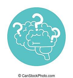 alzheimer, humano, mental, marcas, estilo, médico, icono, salud, disminución, pregunta, color, capacidad, cerebro, bloque, enfermedad